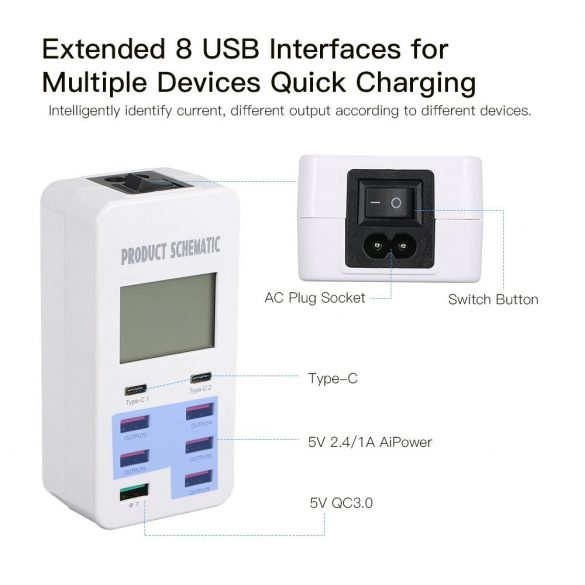 Smart USB töltő 8 port (A8T)